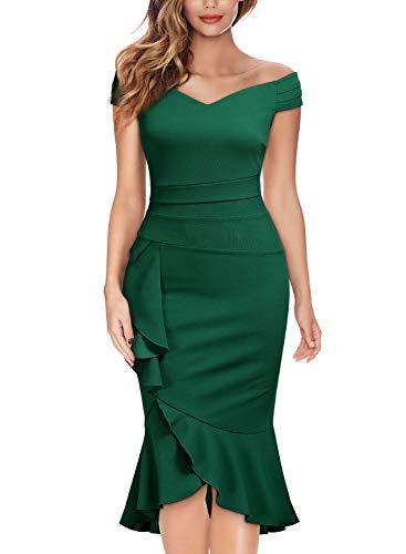 Knitee Off Shoulder V-Neck Ruffle Pleat Waist Bodycon Evening Cocktail Slit Dress,Medium,Dark Green