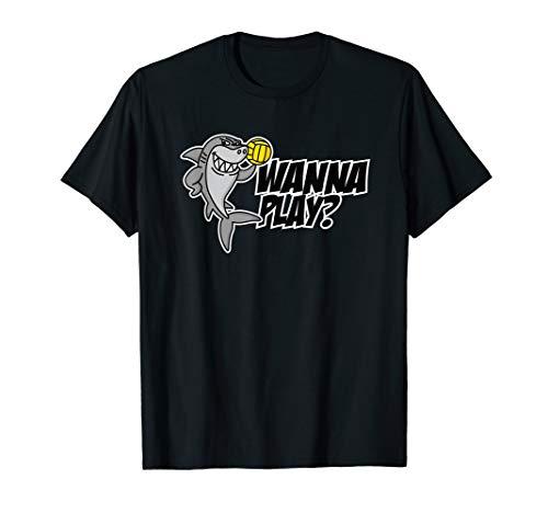 Wanna play Wasserball Water Polo lustig Hai Kinder Geschenk T-Shirt