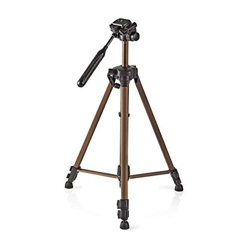 Nedis - Statief - Tripod - Foto- en videocamera's - Pan & Tilt - Max. 3 kg - 145 cm - Uitschuifbare poten - Snelkoppelingsplaat - Waterpas - Verstelbare middenkolom - Brons