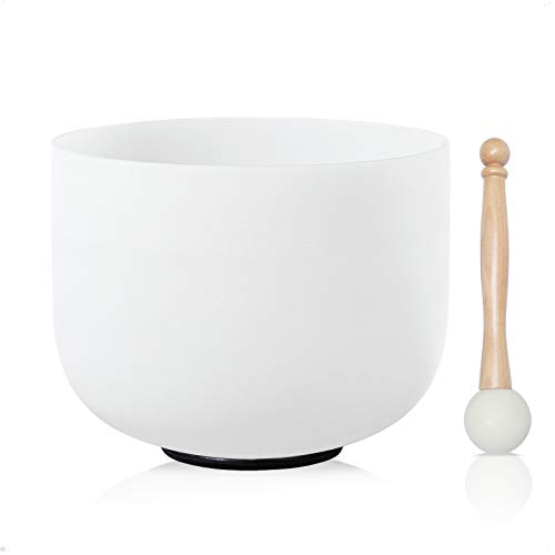 "CVNC 10"" B Note Crown Frosted Quartz Crystal Singing Bowl Free mallet & O-ring Sound Healing Instrument"