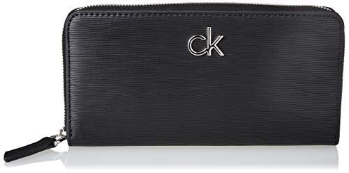 Calvin Klein Z/A Wallet LG Wave PU, Accessori Portafogli da Viaggio Donna, Black, One Size