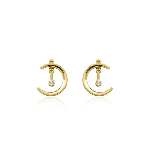 MXHJD Classic Simple Moon Crescent Crystal Stud Earrings For Women Fashion Gold Color Metal Party Pendiente