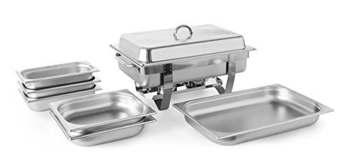 HENDI Chafing Dish, Set, 2 zusätzliche GN Behälter 1/2 65 mm tief, 3 zusätzliche GN Behälter 1/3 65 mm tief, Warmhaltebehälter, Speisewärmer, Behälter, 585x385x(H)315mm, Edelstahl 18/0