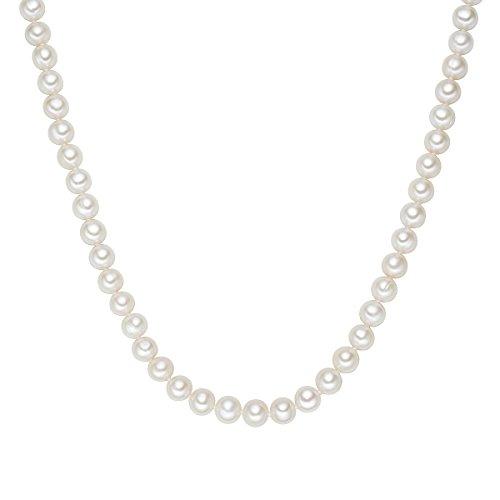 Valero Pearls Damen-Collier Kette 925 Silber rhodiniert Perle hochwertige Süßwasser-Zuchtperle Weiß in verschiedenen Länge - Perlenkette Halskette mit echten Perlen weiss 609210141