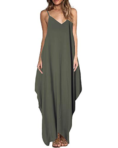 ZANZEA Sommerkleid Damen Ärmellos V-Ausschnitt Lange Kleider Rückenfrei Lose Oversize Strandkleider Olive EU 42/Etikettgröße XL