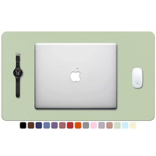 """TOWWI PU Leather Desk Pad with Suede Base, Multi-Color Non-Slip Mouse Pad, 24"""" x 14"""" Waterproof Desk Writing Mat, Large Desk Blotter Protector (Light Green)"""