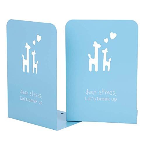 Kinder Buchstützen Hirsch Kreative kinder Eisen Bücher Briefpapier Einfache Tische Kinder Tier bookend 1 pair 20 * 13.5 cm (Hellblau)