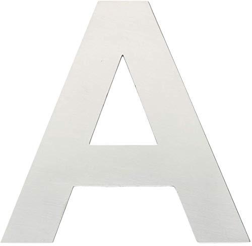 """Metall-Buchstabe """"A"""" aus gebürstetem Edelstahl – Höhe 8cm – Hausnummer, Zimmerbeschriftung, Bürobeschriftung, Türsymbol, Wandbeschilderung – rostfrei und selbstklebend ohne bohren"""