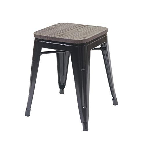 Hocker HWC-A73 inkl. Holz-Sitzfläche, Metallhocker Sitzhocker, Metall Industriedesign stapelbar - schwarz