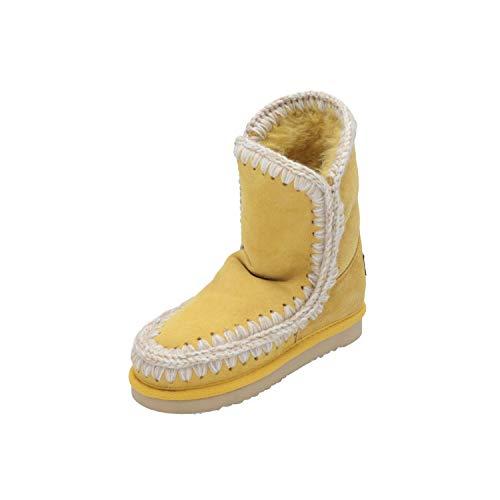 Mou Eskimo Kinder Mädchen Stiefel Gelb Schnür-Stiefelette Winter, Größe:EUR 32