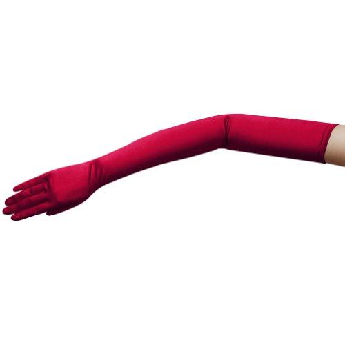 ZAZA BRIDAL Satin-Handschuhe, 59,7 cm lang, glänzend, elastisch, Opernlänge 16 BL - Rot - Eine Größe passt meistens