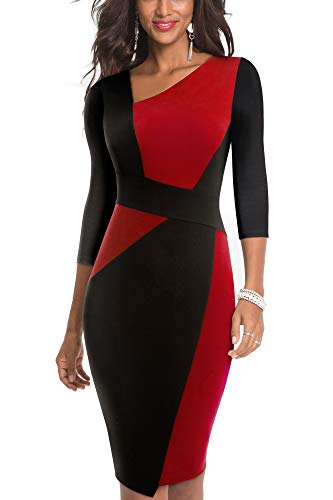 HOMEYEE Damen Vintage Ärmelloses Business Kleid aus Stretch mit Kontrastfarbe B517 (EU 36 = Size S, Rot + Schwarz-L)