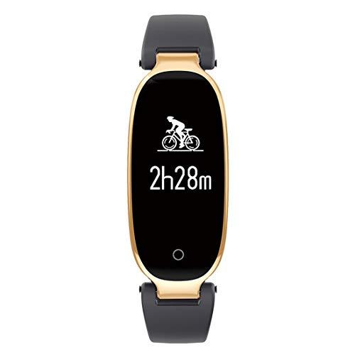 WAVENI Frauen Smart Watch mit Schrittzähler, Kalorienzähler Uhr, Smart Fit Bit Band für Android und iOS (Color : Black Gold)