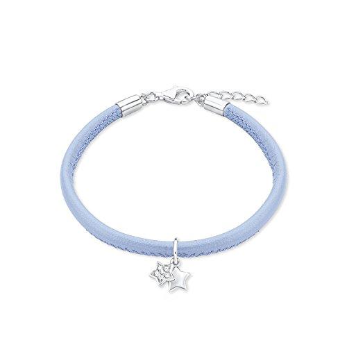 s.Oliver Kinder-Armband 16+2 cm Stern 925 Silber rhodiniert Leder Zirkonia weiß 18 cm 2015022