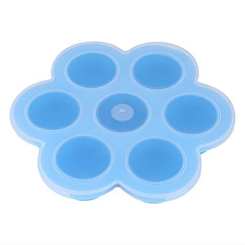 Recipiente para congelador de alimentos, recipiente para alimentos con molde de silicona reutilizable, bandeja de silicona para alimentos para bebés para microondas(sky blue)