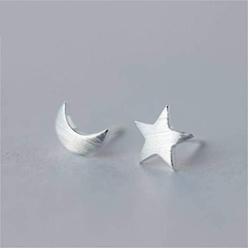TYERY Pendientes de Plata S925, Pendientes de Luna Estrella Cepillados Coreanos Femeninos, Pendientes Asimétricos de Pentagrama,Un par, Plata 925