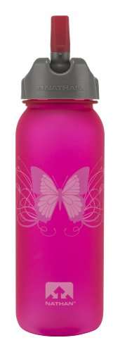 Nathan Trinkflasche Flip Straw Pure Bottle, Butterfly Pink Frosted