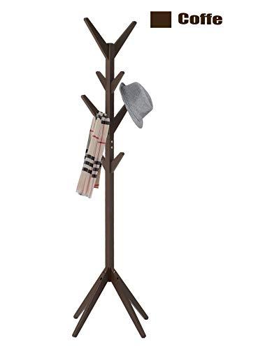 Neasyth Rubber Wood Coat Rack Entryway Standing Hall Tree Tetrapod Base for Hat Jacket Scarf Hanger Rack in Living Room Bedroom (Coffe)