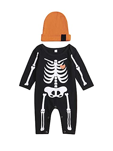 Siyova Conjunto de traje de bebé Halloween de manga larga + gorro de payaso para niño con forma de murciélago con impresión de calavera, vestido de recién nacido, Negro A., 6-9 meses