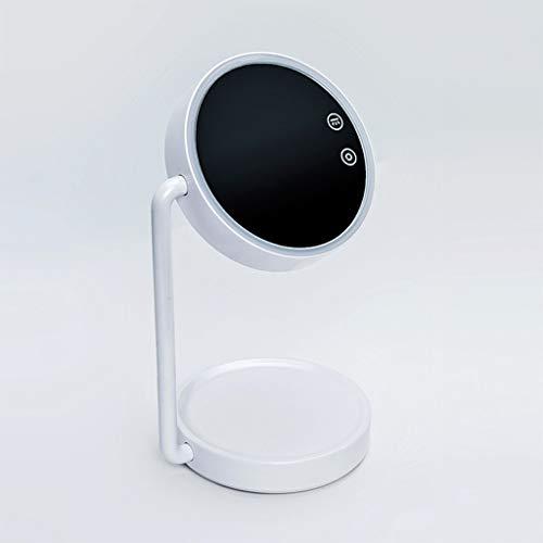 QXHELI Smart Touch Spiegel voor het opladen met LED-tafellamp, draagbaar, met accu, spiegel voor schoonheid, ABS, verstelbaar, spiegel op voet, spiegel (kleur: wit)