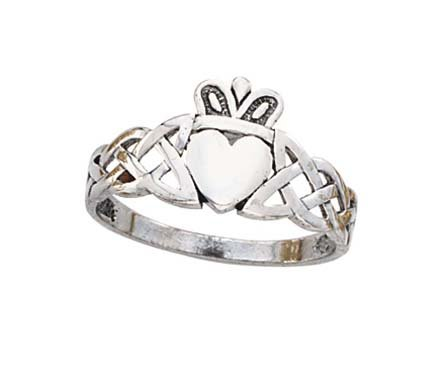 14ct White Gold Irish Claddagh Celtic Trinity Knot Mens Ring Size T 1/2 Jewelry Gifts for Men