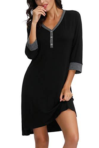 Zexxxy FemmesChemise de Nuit en CotonCol en V Demi-Manche Chemise de Nuit Robe de Nighshirt Vêtements de Nuit Noirs S