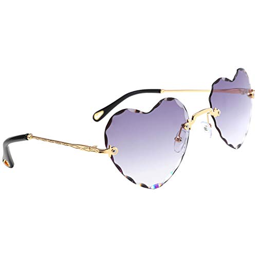Hellery Gafas de Sol de Corazón Gafas Gafas de Sol de Protección UV400 Exteriores - Gris, Tal como se Describe