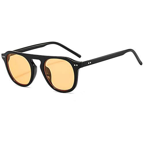 DLSM Moda Oval Gafas de Sol para Hombres Mujeres Vintage Punk Sun Glasses Hombres S Gafas Unisex Eyewear Punk Remache Adecuado para Gafas de Sol de conducción de Golf de Playa-Amarillo Negro