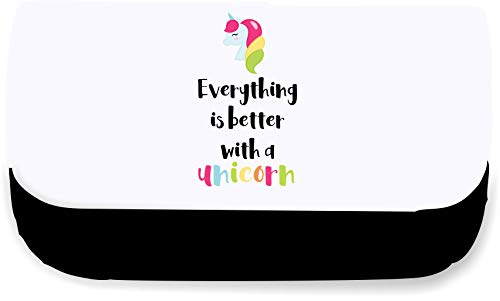 Everything is Better with A Unicorn [UNIJS] Clutch-Style Pencil case - Black