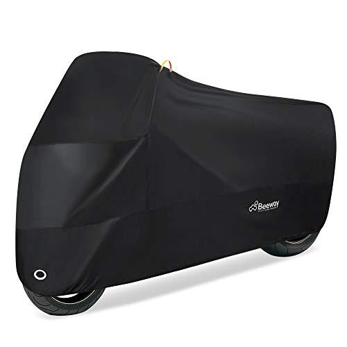 Beeway Funda para Moto, Cubierta de Motocicleta 190T UV Protectora Impermeable con Agujeros de Bloqueo - XXL