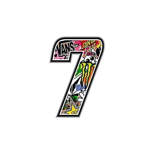 4R Quattroerre.it 13357 Número 7 Sticker Bomb, 10 x 10 cm, Multicolor