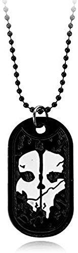 MGBDXG Co.,Ltd Collar Joyas Collar para Hombre Fantasmas Etiqueta de Perro Colgante Placa de identificación del ejército para el Deber Serie Militar con Armas Llamar a los fanáticos del Juego Regalo