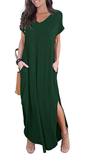 GRECERELLE Women's Casual Loose Pocket Long Dress Short Sleeve Split Maxi Dress Dark Green M
