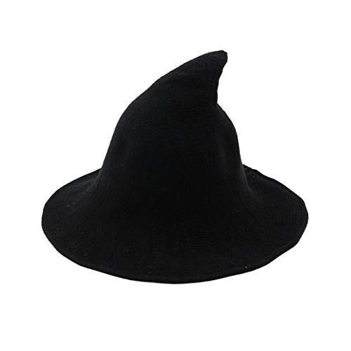 URFUN Women's Wool Witch Hat Wide Brim Spire Knitted Cap for Halloween Party Decor Black One Size
