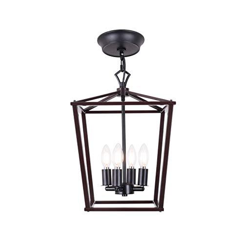 Lámpara de techo colgante de bronce de 12 pulgadas, estilo vintage, para escalera, entrada, vestíbulo, jaula de hierro, candelabro