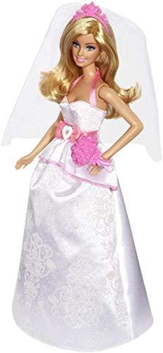 Mdcgok Fashion Dress Up Doll Muñeca Nupcial en Vestido Blanco y Rosa con Velo y Ramo de Flores Regalo para niños de 3 a 7 años 30CM