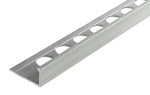 Perfil angular de aluminio de 6 mm, 1 m, perfil de baldosas, moderno perfil de acero inoxidable natural