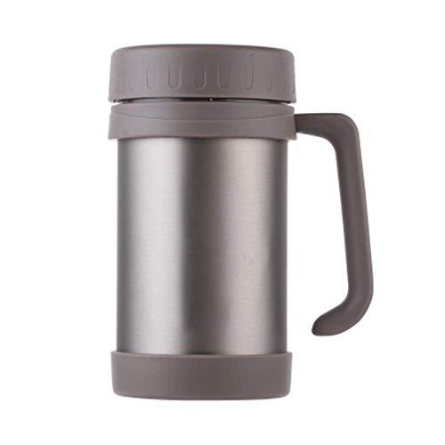 ZYLLL Office Portable Wasserglas Vakuum Kaffeetassen Edelstahl Drink Griff Teetassen Wasserglas Kamel 500ml