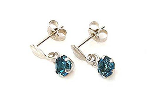 9ct White gold 4mm London Blue Topaz Drop Dangly earrings