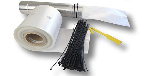 dm-folien Dachrinnenschlauch 1 Rolle=50 Meter inklusive 100 Kabelbinder + hochwertiger Folienschneider - Schlauch für Regenrinne Fallrohr Provisorium Fallrohrfolie Regenrinnenschlauch Regenschlauch