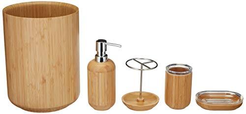 Amazon Basics 5 piezas - Juego de bambú para lavabo - Redondo