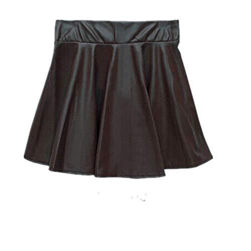 N\P Falda de cuero artificial de las mujeres vintage de cintura alta plisada falda de mujer faldas cortas