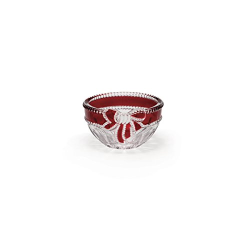 Celebrations by Mikasa Ruby Ribbon Crystal Candy Bowl 4.75-Inch