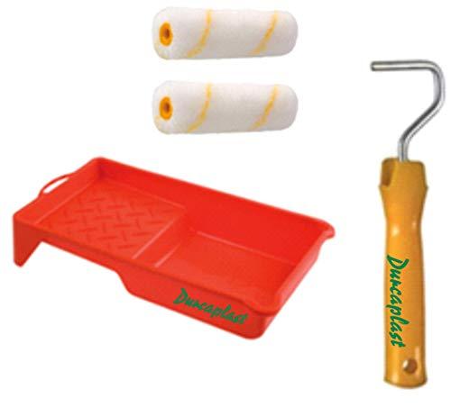Juego de rodillos de pintura antigota con mango y bandeja: Cubeta de plástico con 2 rodillos antigota. Recomendados para pinturas plásticas