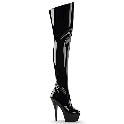 Higher-Heels PleaserUSA Plateau-Overknee-Stiefel Kiss-3010 Lack schwarz 39