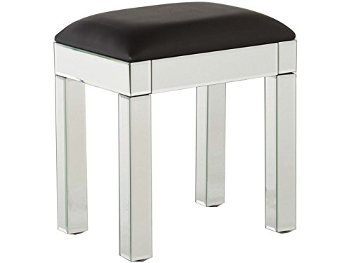 GFW - The Furniture Warehouse Venetian Dessing Table Stool with Clear Mirror Finish