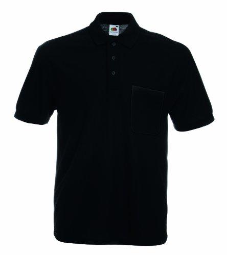 Fruit of the Loom, polo à manches courtes pour homme, poche piquée - noir - Taille Unique
