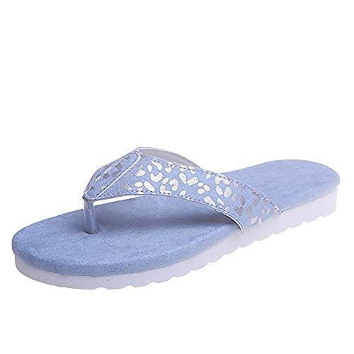 xinghui Chanclas de Mujer Zapatillas para Mujer Casual Lightweight Word Drag-Azul Claro_35