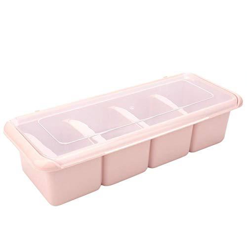 Haowecib Acryl-Gewürzbox, ungiftig mit Deckel Premium PP-Material-Gewürzbox, für alle Arten von Gewürzen Paprika-Flocken Granulierter Knoblauchzucker, Salz, Marmelade(Pink)