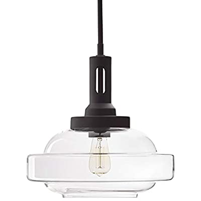 Rivet Mid Century Modern Industrial Glass Pendant Chandelier Fixture with Light Bulb - 12.5 x 15.5 Inches, 17-60 Inch Cord, Matte Black
